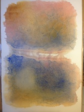 Under-painting from dyeing collage paper