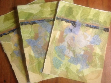 Trio of collaged watercolor papers